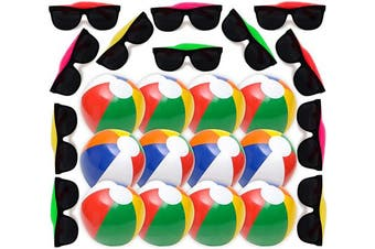 Summer Party Favours Set, 1 Dozen Inflatable Beach Balls 30cm , 12 Neon Kids Sunglasses with UV Protection - Great Beach & Pool Parties Supplies for Kids Boys & Girls, Water Fun, By 4E's Novelty