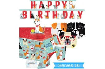 Dog Party Supplies and Decorations - Dog Party Plates and Napkins Cups for 16 People - Includes Dog Birthday Banner, Tablecloth and Centrepiece - Perfect Dog Birthday Party Decorations and Dog Birthday Party Supplies!
