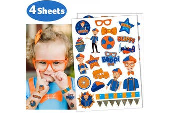 Temporary Tattoos for Blippi Party Supplies Kids 4 sheets Favours Birthday Decorations