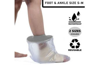 (Adult Size S-M) - Foot & Ankle Waterproof Plaster Cast & Dressing Cover | Protector | Also for Bandages & Plasters | Protection During Shower & Bath | Soft Aperture | Latex Free | Reusable | Size S-M