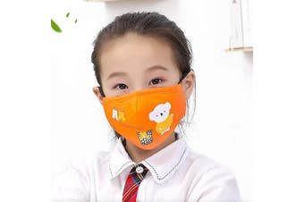 Kids Reusable Mouth Cover With activated carbon filter,adjustable size (Orange)