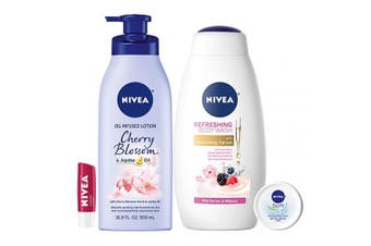 NIVEA Fresh and Fruity Self-Care Kit - 4 Piece Bundle with Body Lotion, Body Wash, Lip Balm, and Multipurpose Cream