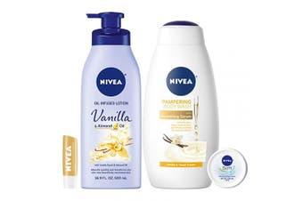 NIVEA Very Vanilla Self-Care Kit - 4 Piece Bundle with Body Lotion, Body Wash, Lip Balm, and Multipurpose Cream