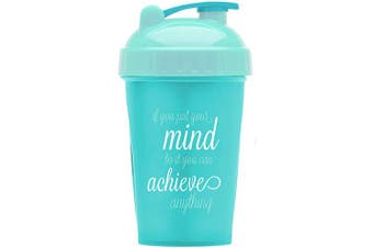 Motivational Quotes on Performa Perfect Shaker Bottle, 590ml Classic Protein Shaker Bottle, Advanced Actionrod Mixing Technology, Dishwasher Safe, Leak Proof (Achieve - Teal/Mint - 590ml)