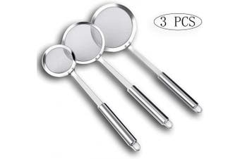 3 Pcs Hot Pot Fat Skimmer Spoon, Stainless Steel Fine Mesh Skimmer Spoon for Cooking Frying Skimming Grease and Foam