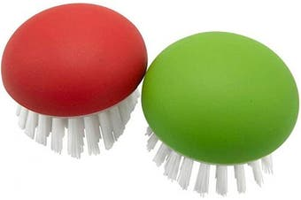 Affordable Vegetable Brush Scrubber for Food – 2Pcs Set Fruit and Veggie Brush – Silicone Top and Ultra-Strong Bristles Potato Scrubber – Palm Held Ergonomic Design – Easy to Clean – Red and Green