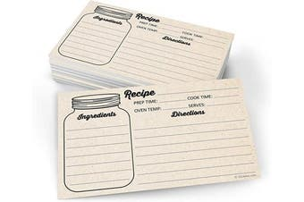 (7.6cm  x 13cm  (X-Small), Directions on Back) - 321Done Mason Jar Recipe Cards Small (Set of 50) 7.6cm x 13cm Double-Sided Premium - Made in USA - Rustic Kraft Tan