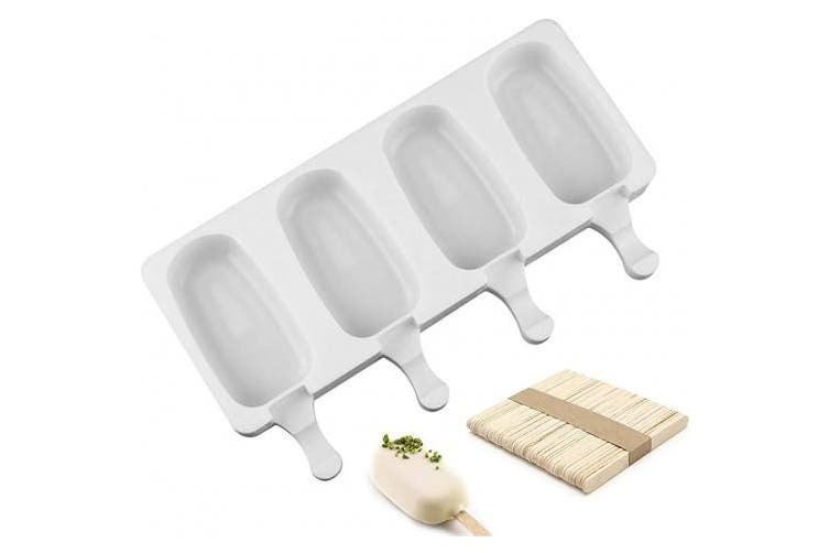 (Popsicle mould 4 cavity) - Joho Baking Silicone Ice Cream Mould Popsicle Moulds Ice Pop Maker Homemade Cakesicle Mould,Oval,4-Cavity