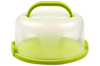 FEOOWV Plastic Small Cake Carrier Holder Cover Round Container with Collapsible Handles Suitable for 15cm Cake (B-Green)