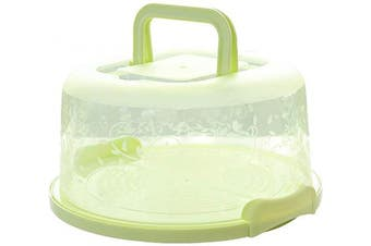 FEOOWV Plastic Small Cake Carrier Holder Cover Round Container with Collapsible Handles Suitable for 15cm Cake (Green)