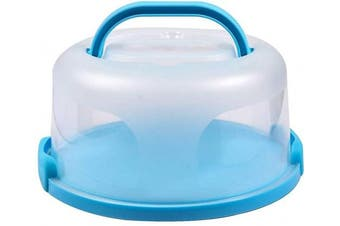 FEOOWV Plastic Small Cake Carrier Holder Cover Round Container with Collapsible Handles Suitable for 15cm Cake (B-Blue)