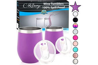 (2 Tumblers, Purple) - 350ml 2 Purple Stainless Steel Wine Tumbler - Double Wall Vacuum Insulated Unbreakable Thermos w/Spill-proof Lid - For Wine Beer Coffee Cocktail - Travel-Friendly Mug - Perfect Birthday Gift Cup