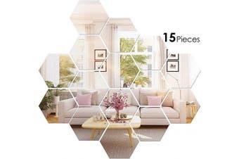 (6.4cm ) - BBTO 15 Pieces Mirror Sheets Flexible Non Glass Mirror Plastic Mirror Self Adhesive Tiles Mirror Wall Stickers (6.4cm )