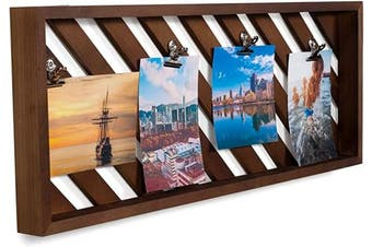 brightmaison Rustic Wood Picture Photo Display Clip Board with Clips 60cm Wall Decor Collage Artworks Prints Multi Pictures Hanging Organiser (Walnut)