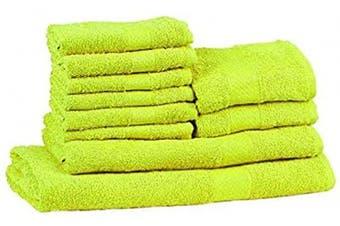 CASA COPENHAGEN Soft and Light 100% Combed Cotton 400 GSM 10-Pieces (Bath, Hand & Wash Cloth) Towel Gift Set, Bright Green