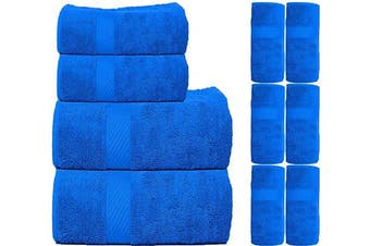 CASA COPENHAGEN Soft and Light 100% Combed Cotton 400 GSM 10-Pieces (Bath, Hand & Wash Cloth) Towel Gift Set - Neon Blue