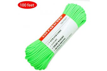 (100.0 Feet, 550 Safety Green) - BENGKU Outdoor Mil-SPEC 250kg Paracord/Parachute Cord(MIl-C-5040-H),30m