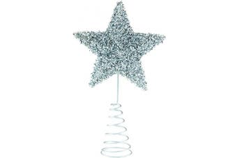 Clever Creations Silver Star Christmas Tree Topper - Festive Christmas Decor - Sparkling Shatter Resistant Plastic - 20cm Tall - Perfect for Any Size Christmas Tree