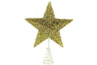 Clever Creations Gold Star Christmas Tree Topper - Festive Christmas Decor - Sparkling Shatter Resistant Plastic - 20cm Tall - Perfect for Any Size Christmas Tree