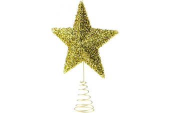 Clever Creations Gold Star Christmas Tree Topper - Festive Christmas Decor - Sparkling Shatter Resistant Plastic - 23cm Tall - Perfect for Any Size Christmas Tree