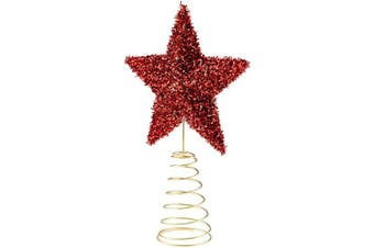 Clever Creations Red Star Christmas Tree Topper - Festive Christmas Decor - Sparkling Shatter Resistant Plastic - 20cm Tall - Perfect for Any Size Christmas Tree