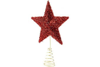 Clever Creations Red Star Christmas Tree Topper - Festive Christmas Decor - Sparkling Shatter Resistant Plastic - 23cm Tall - Perfect for Any Size Christmas Tree