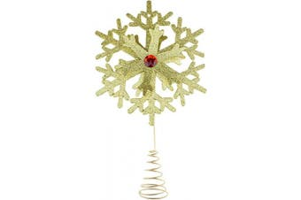 Clever Creations Gold Snowflake Christmas Tree Topper - Festive Christmas Decor - Sparkling Shatter Resistant Plastic - 22cm Tall - Perfect for Any Size Christmas Tree