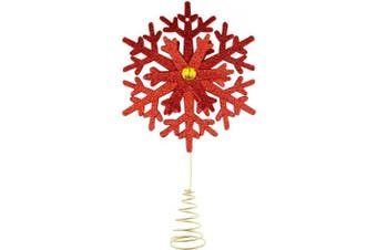 Clever Creations Red Snowflake Christmas Tree Topper - Festive Christmas Decor - Sparkling Shatter Resistant Plastic - 22cm Tall - Perfect for Any Size Christmas Tree