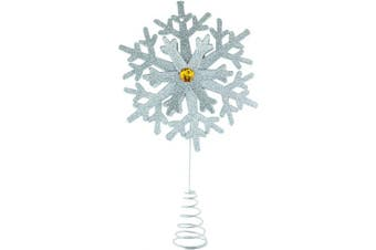 Clever Creations Silver Snowflake Christmas Tree Topper - Festive Christmas Decor - Sparkling Shatter Resistant Plastic - 22cm Tall - Perfect for Any Size Christmas Tree