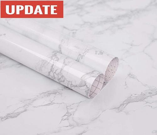 (60cm  x 300cm ) - Marble Contact Paper Granite Grey/White Roll Kitchen countertop Cabinet Furniture is renovated Thick PVC Easy to Remove Without Leaving Marks Upgrade (60cm x 300cm ) Size: 60cm  x 300cm