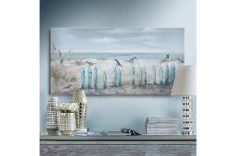 (80cm  x 41cm , Beach Wall Art) - Ocean Beach Wall Art 3D Framed Hand-Painted Seascape Oil Painting Perching Bird Canvas Artwork 'The Tranquilly by The Sea Shore' for Living Room Bedroom Décor Coastal Blue 41cm x 80cm