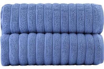 (70cm  X 140cm  Bath Towels, Blue) - Classic Turkish Towels Luxury Bath Towel Set - Soft and Thick Oversized Ribbed Bathroom Towels Made with 100% Turkish Cotton (Blue, 27x54 Bath Towels)