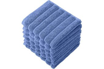 (33cm  X 33cm  Washcloths, Blue) - Classic Turkish Towels Luxury Bath Towel Set - Soft and Thick Oversized Ribbed Bathroom Towels Made with 100% Turkish Cotton (Blue, 13x13 Washcloths)
