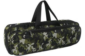 """(17.7""""/45cm-Camo) - Folding Fishing Rod Carrier Bag Waterproof Fishing Pole Reel Storage Bag, Portable Carry Case Tackle Box for Travel Fishing Gear Organiser, Single Layer Large Capacity, 45cm"""