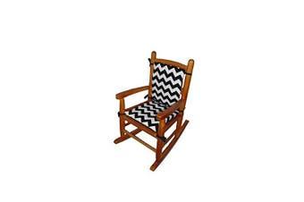 (Black) - Baby Doll Bedding Chevron Junior Rocking Chair Pad, Black