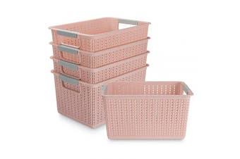 (Pink) - Acrux7 5 Pack Plastic Storage Basket, Portable Plastic Weave Kitchen Refrigerator Basket Bathroom Desktop Storage Box for Kitchen, Bathroom and Cabinet - 270mm x 190mm x 140mm (Pink)