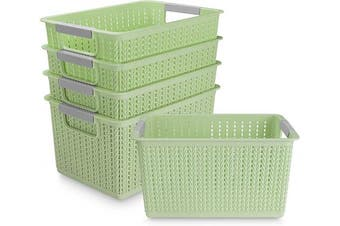 (Green) - Acrux7 5 Pack Plastic Storage Basket, Portable Plastic Weave Kitchen Refrigerator Basket Bathroom Desktop Storage Box for Kitchen, Bathroom and Cabinet - 270mm x 190mm x 140mm (Green)