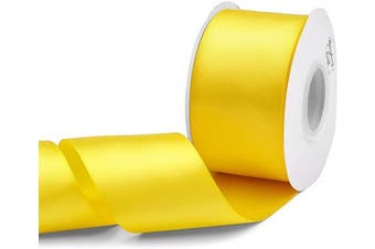 (Daffodil Yellow) - Humphrey's Craft 5.1cm Daffodil Yellow Double Faced Satin Ribbon - 25 Yards Variety of Colour for Crafts Gift Wrapping Bows Bridal Bouquet Cutting Ceremony Decoration Christmas Tree Wedding.