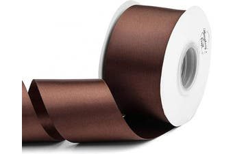 (Brown) - Humphrey's Craft 5.1cm Brown Double Faced Satin Ribbon - 25 Yards Variety of Colour for Crafts Gift Wrapping DIY Bows Bridal Bouquet Cutting Ceremony Decoration Christmas Tree Wedding.