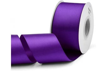 (Purple) - Humphrey's Craft 5.1cm Purple Double Faced Satin Ribbon - 25 Yards Variety of Colour for Crafts Gift Wrapping DIY Bows Bridal Bouquet Cutting Ceremony Decoration Christmas Tree Wedding.