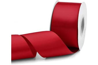 (Red) - Humphrey's Craft 5.1cm Red Double Faced Satin Ribbon - 25 Yards Variety of Colour for Crafts Gift Wrapping DIY Bows Bridal Bouquet Cutting Ceremony Decoration Christmas Tree Wedding.