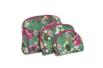 Nicole Miller 3 Pc Cosmetic Bag Set, Purse Size Makeup Bag for Women, Toiletry Travel Bag, Makeup Organiser, Zippered Pouch Set, Large, Medium, Small (Hot Pink & Green Floral Print)