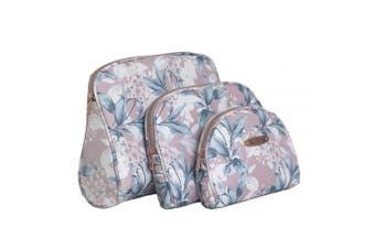 Ellen Tracy 3 Pc Cosmetic Bag Set, Purse Size Makeup Bag for Women, Toiletry Travel Bag, Makeup Organiser, Zippered Pouch Set, Large, Medium, Small (Pale Pink & Green Flower Print)