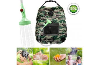 (Camouflage) - ASANMU Solar Shower Bag, 20L Camping Shower Bag Outdoor Solar Heating Portable Outdoor Shower Bag with Removable Hose and Switchable Shower Head, for Travelling Beach Swimming Garden Hiking