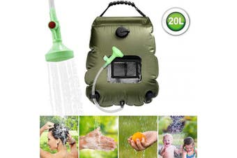 (Green) - ASANMU Solar Shower Bag, 20L Camping Shower Bag Outdoor Solar Heating Portable Outdoor Shower Bag with Removable Hose and Switchable Shower Head, for Travelling Beach Swimming Garden Hiking