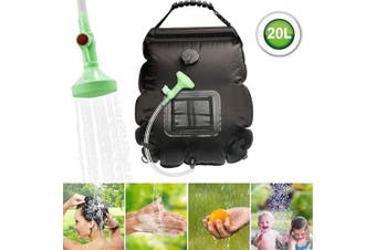(Black) - ASANMU Solar Shower Bag, 20L Camping Shower Bag Outdoor Solar Heating Portable Outdoor Shower Bag with Removable Hose and Switchable Shower Head, for Travelling Beach Swimming Garden Hiking