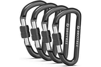 (# 18 Black, 4 PCS) - Brotree Carabiner Screw/Straight Gate Mini Carabiner Clips for Keychain, Camping, Hiking, Backpacking and Fishing (2 or 4 Pcs)