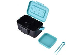 HERCHR Portable Tackle Box Lure Bait Storage Case Worm Fishing Tackle Live Bait Box with Interlayer & Tweezers