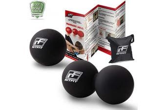 (Black/Black) - RitFit Massage Ball Set (1 Peanut Massage Ball & 1 Lacrosse Ball) for Myofascial Release, Trigger Point Therapy, Muscle Knots, and Yoga Therapy, Bonus Free Carry Bag and Workout Guide