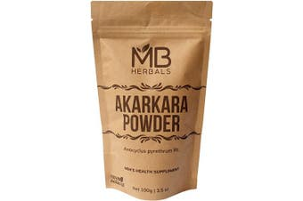 MB Herbals Pure Anacyclus pyrethrum Root Powder 100g | 100ml | Akarkara | Akar Kara | Pellitory | Longwort Root Powder | Spanish Chamomile Root Powder